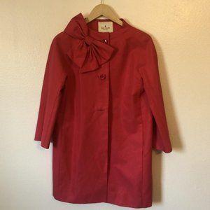 Kate Spade Dorothy Button Down Bow Trench Coat Red